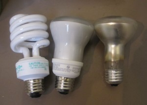 Curly Q CFL, reflector CFL & incadescent reflector