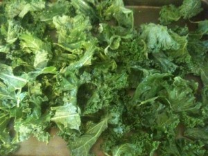 kale prepped for baking