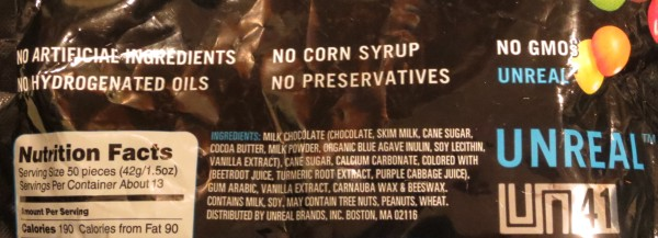Ingredient list of Unreal Candy Coated Chocolates