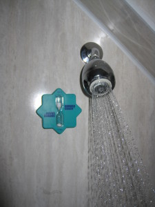 Low flow showerhead and 5 minute timer