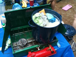camping stove with a pot of boiling cloth diapers