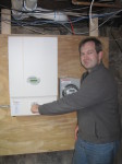 Jon turning the switch for our solar inverter