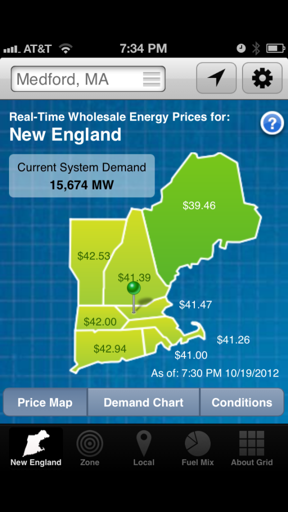 map of New England showing whole sale electricity prices