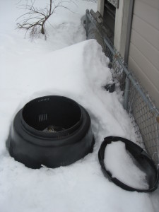 round compost buried in the snow