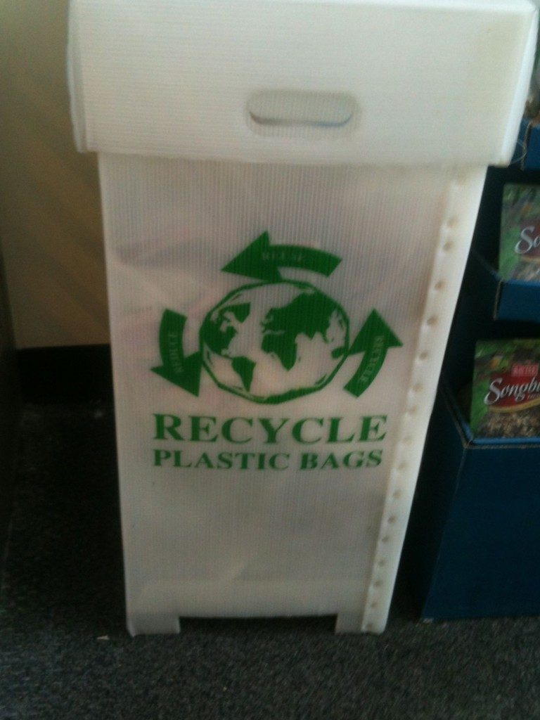 Plastic bag recycle bin at our local Stop & Shop