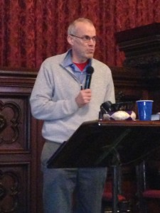 Bill McKibben with a microphone