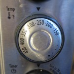 Toaster oven dial set at 250°F