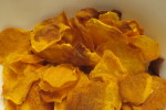 bowl of freshly made spicy sweet potato chips