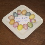plate of colorful natural dyed eggs