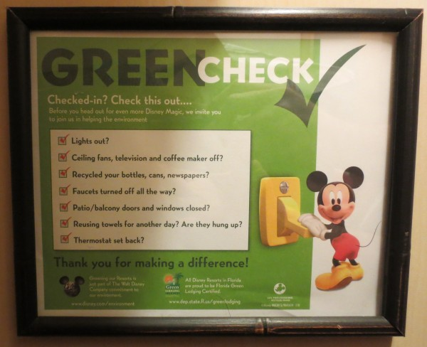Disney checklist for guests about how to save energy by turning out the lights and more.