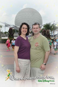 Alicia with her solar shirt, Jon with his wind turbine shirt at Epcot.