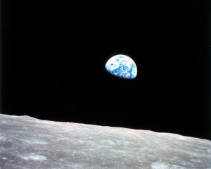 planet earth rising over the moon as seen from Apollo 8