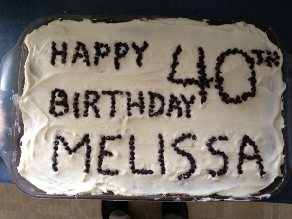 Cake that says Happy 40th Birthday Melissa