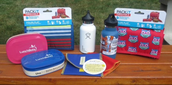 twin sets of stainless bento box, metal insulated water bottle, snack bags, and cool lunch bags