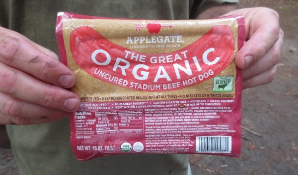 package of applegate organic stadium hot dogs
