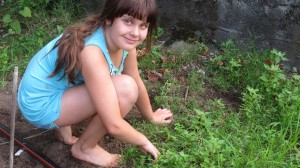 young girl weeding a garden