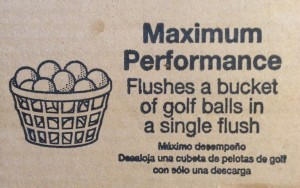 picture from the side of the Champion 4 Max toilet box of a bucket of golf balls saying it can flush it with a single flush