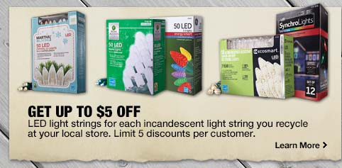 recycle incandescent christmas lights at home depot