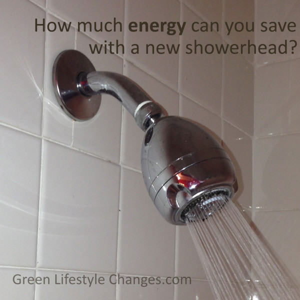 photo of shower head with running water with question - how much energy can you save with a new showerhead