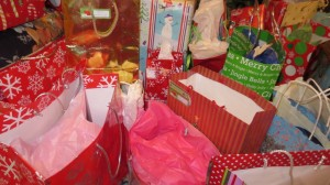 picture of gift bags under Christmas tree