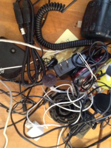 Messy pile of cords and plugs