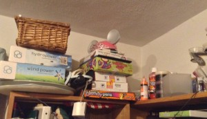 Science kits and other things up high where the kids can't reach (easily)