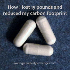 picture of 3 capsules with text How I lost 15 pounds and reduced my carbon footprint