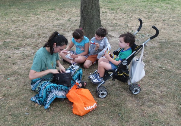 Alicia and our kids eating ice cream on the mall in Washington DC.