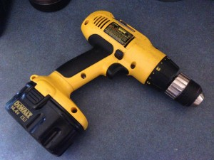 yellow and black 14V cordless drill