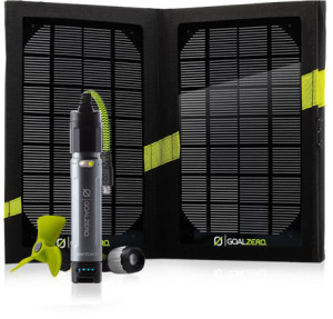 Picture of GoalZero Switch 10 set with solar panel, light, fan and USB smartphone charger