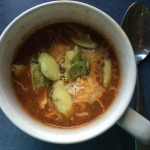 tortilla soup with cheese and avacado