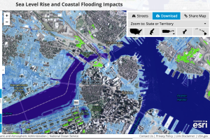 5 feet of sea level rise in the Boston area made with NOAA's http://coast.noaa.gov/