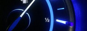 fuel gauge showing 7/8th of a tank of gas