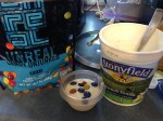 Unreal chocolate, reusable cup of yogurt, & container of Stonyfield organic yogurt